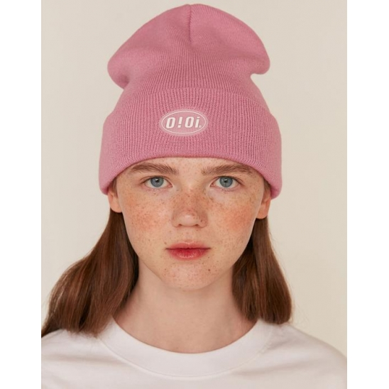 RUBBER LABEL LONG BEANIE_PINK