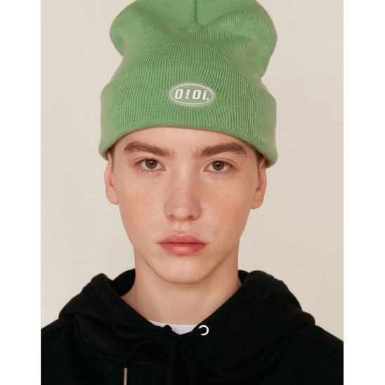 RUBBER LABEL LONG BEANIE_GREEN