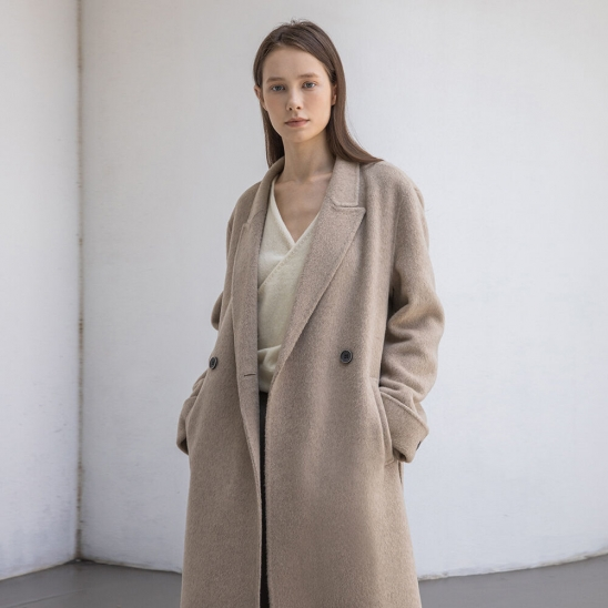 Fox handmade long coat (sand beige)
