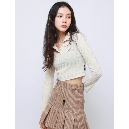 POLO SHIRT CROP CROP TOP(IVORY)