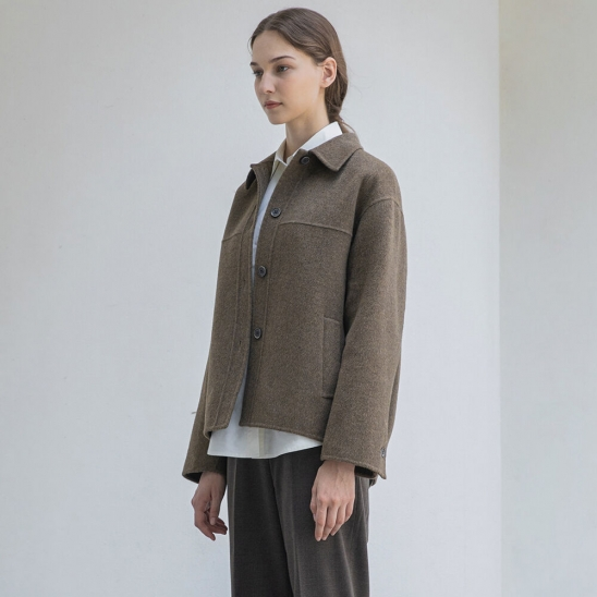 Handmade half coat (khaki brown)