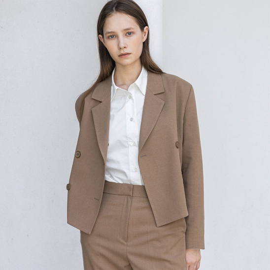 Wool short jacket (latte)