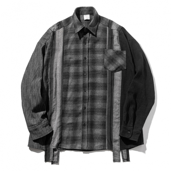 MULTI CHECK OVERSIZED SHIRTS MFZST002-BK