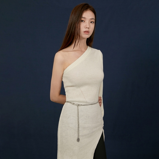 ONE SHOULDER CUTTING KNIT DRESS - IVORY