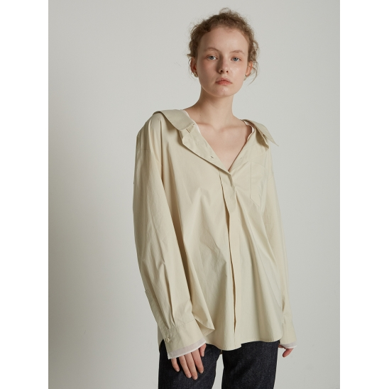 [ELLONARC WHITE] LAYER SHIRTS_CREAM