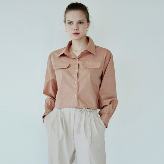 COTTON FLAP CROP SHIRT_PEACH