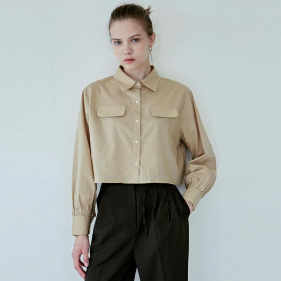 COTTON FLAP CROP SHIRT_BEIGE