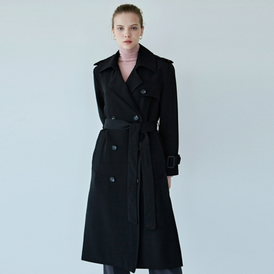 SOFT DOUBLE TRENCH COAT_BLACK