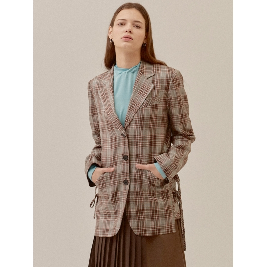 CHECK SIDE LACE-UP DETAIL TAILORED JACKET_L/BROWN (EETZ3JKR01W)