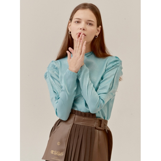 FLUID TWISTED NECK PUFF SLEEVE SATIN BL_MINT (EETZ3BLR03W)