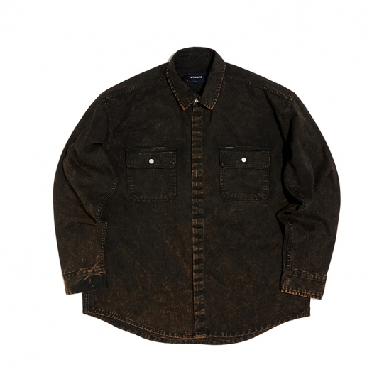 SNOW WASH COTTON SHIRT (BLACK)