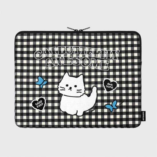 Awesome cat check-black-15inch notebook pouch(15인치 노트북 파우치)