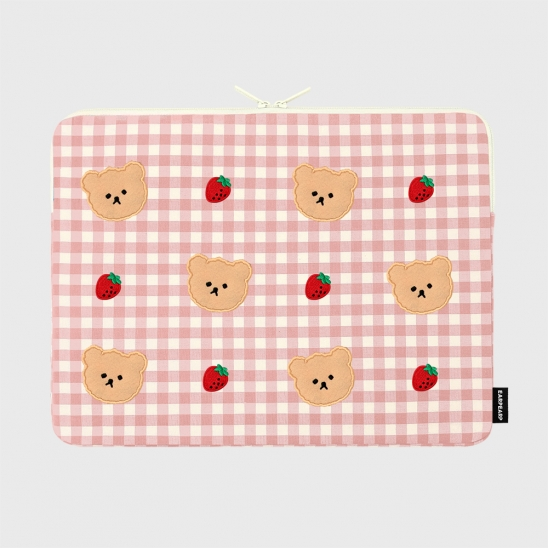 Dot strawberry check-pink-15inch notebook pouch(15인치 노트북 파우치)