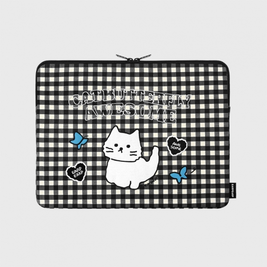 Awesome cat check-black-13inch notebook pouch(13인치 노트북 파우치)