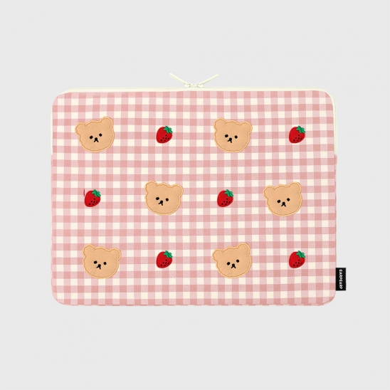 Dot strawberry check-pink-13inch notebook pouch(13인치 노트북 파우치)