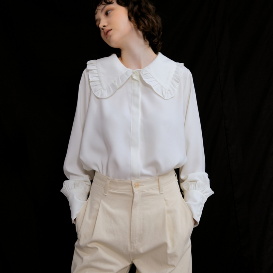 Sarah Big Collar Blouse_Ivory