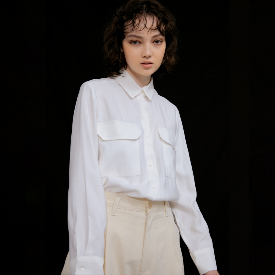 Lisa Flap Pocket Blouse_Ivory