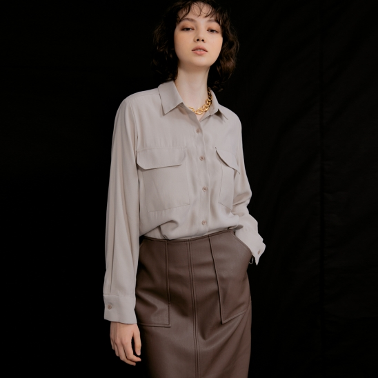 Lisa Flap Pocket Blouse_Beige