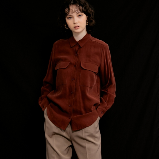 Lisa Flap Pocket Blouse_Brick