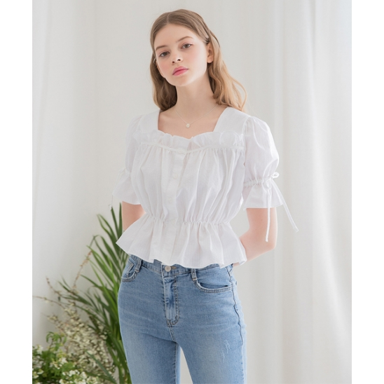 [클렛] FRILL CROP BLOUSE WHITE