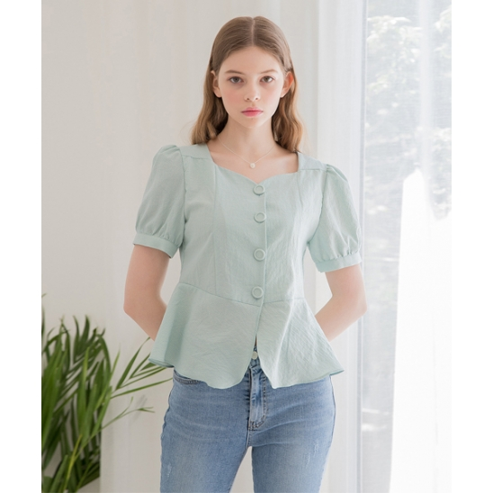 [클렛] HOUND CHECK FLARE BLOUSE MINT
