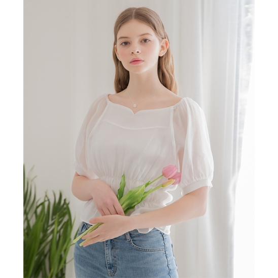 [클렛] HEART NECK BAND BLOUSE WHITE