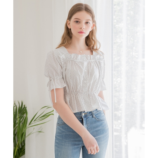 [클렛] DOT FRILL CROP BLOUSE IVORY