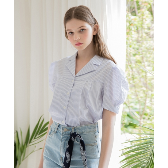 [클렛] STRIPE OPEN COLLAR BLOUSE BLUE