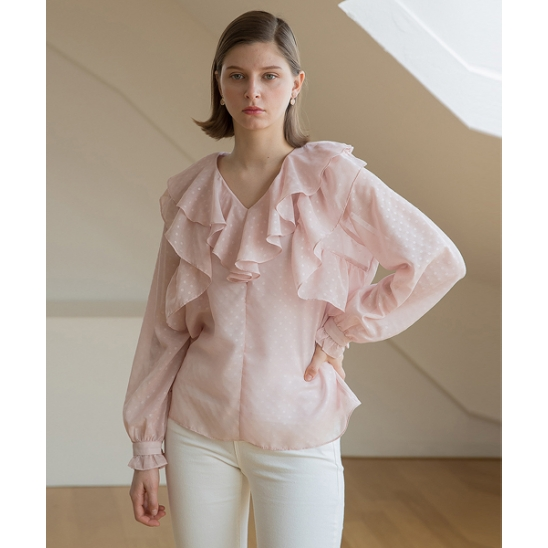[클렛] NECK DOUBLE RUFFLE BLOUSE PINK