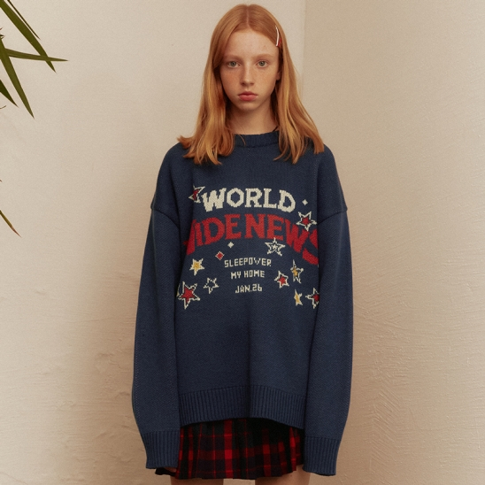 World Wide Oversized Sweater(NAVY)