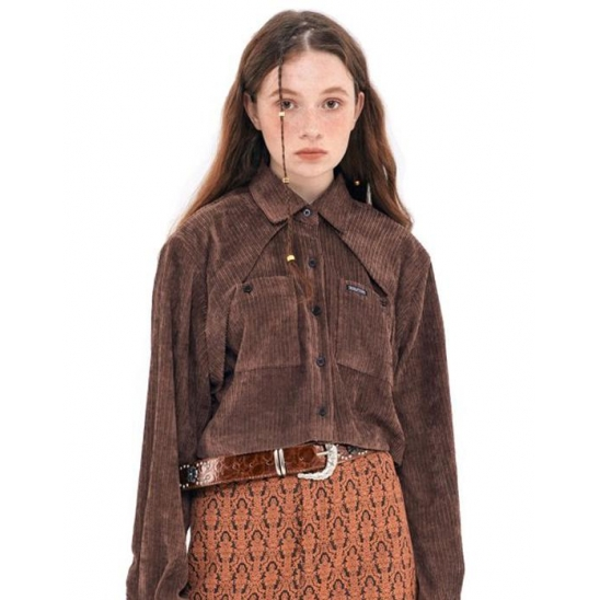 Corduroy Western Crop Shirt [BROWN]