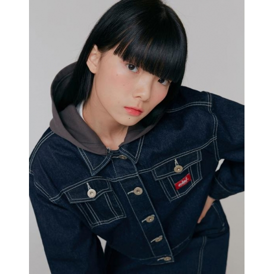 HOOD CROP DENIM JACKET_INDIGO