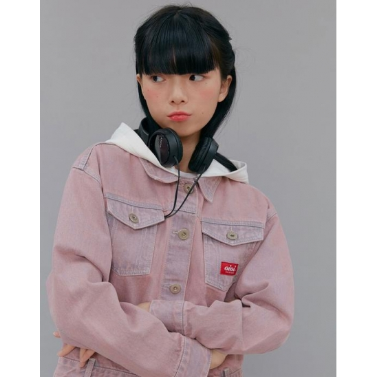 HOOD CROP DENIM JACKET_PINK