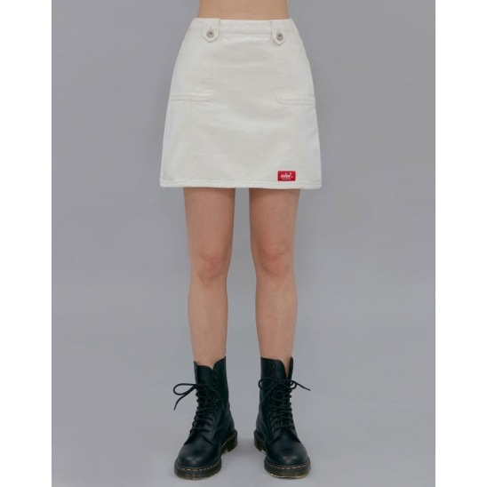 STITCH POINT DENIM SKIRT_IVORY