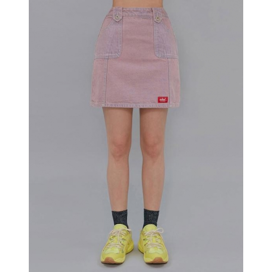 STITCH POINT DENIM SKIRT_PINK