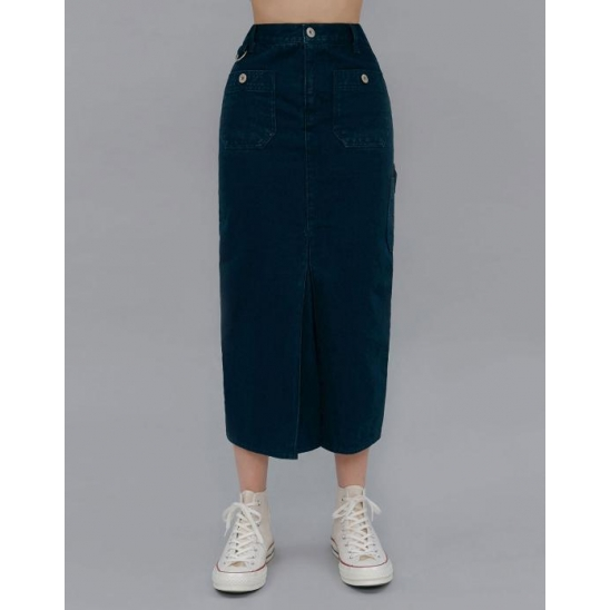 POCKET POINT SLIT LONG SLIM SKIRT_NAVY