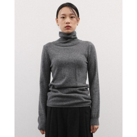 CASHMERE TURTLE NECK CHARCOAL