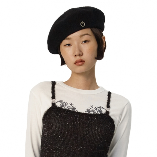 C METAL BROOCH WOOL BERET_BLACK