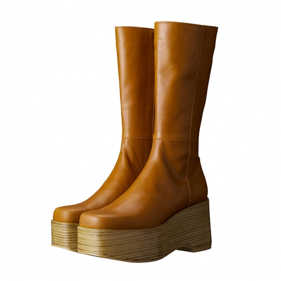 C SQUARE TOE BOOTS_BROWN