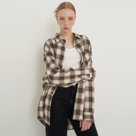 [UNISEX] OVERFIT REGULAR CHECK SHIRT_brown