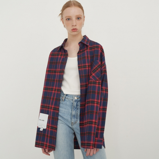 Overfit vintage check shirt_RED