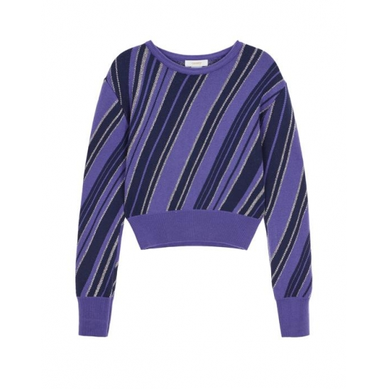 [A.T.C EXCLUSIVE]  C METAL DIAGONAL STRIPE KNIT TOP _PURPLE