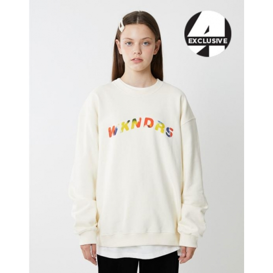 [A.T.C EXCLUSIVE]  W LOGO EMBROIDERY SWEATSHIRT (IVORY)