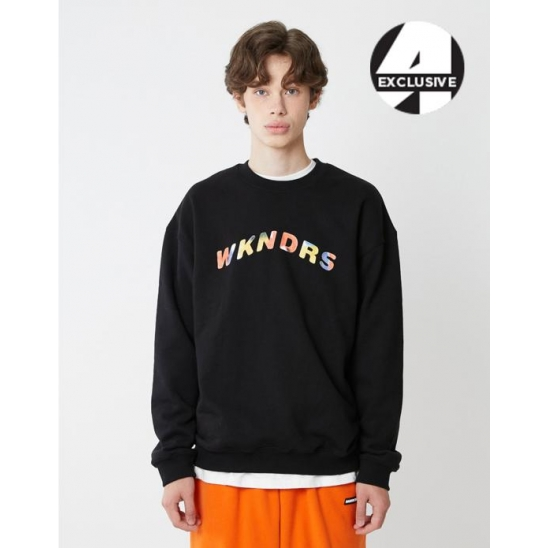 [A.T.C EXCLUSIVE]  W LOGO EMBROIDERY SWEATSHIRT (BLACK)
