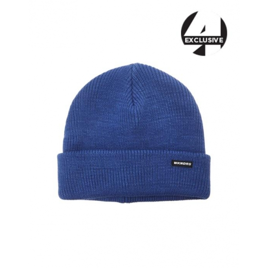 [A.T.C EXCLUSIVE]  HOT DOG EMBROIDERY BASIC BEANIE (BLUE)