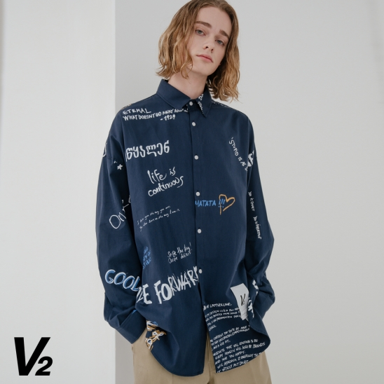 OVERFIT GRAPHY COLOR SHIRT_NAVY