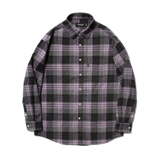 SP Loose Fit Panel Check Shirts-Purple
