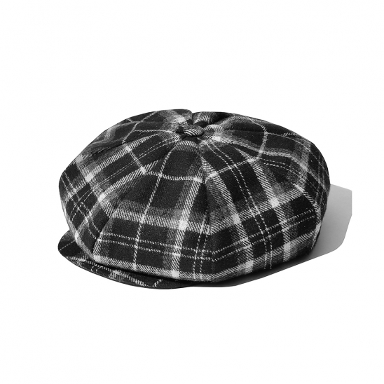 SP Muse Check Newsboy Hat-Black