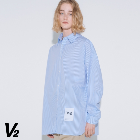 OVERFIT LOGO PATCH SHIRT_BLUE STRIPE