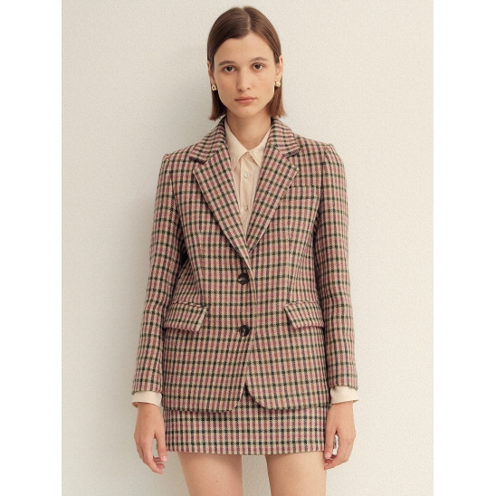 PINK GINGHAM CHECK SINGLE FIT WOOL JACKET (핑크 깅엄 체크 싱글 핏 울 자켓)